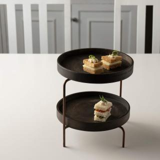 mango wood brown 2 tier cake stand