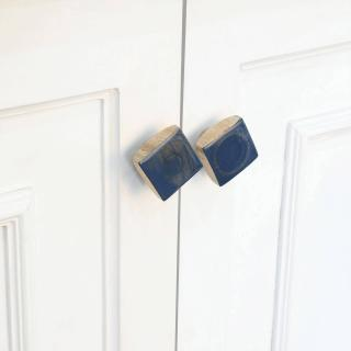 blue wood knob- square (set of 2)