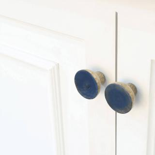 blue wood knob- round (set of 2)