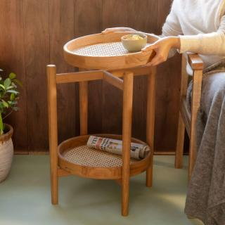 Cane Craft Side Table with Removable Trays