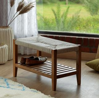 Twine Wooden Bench with Rack (White)