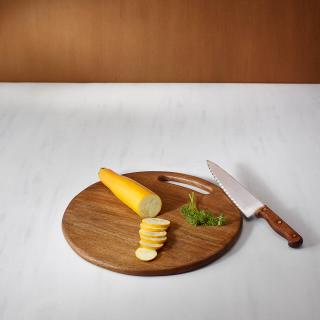 wooden chopping board round lrg brown
