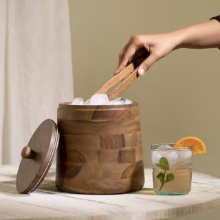 Fryst Wooden Ice Bucket with Glass Insert
