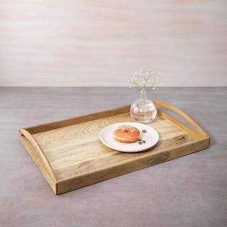 in teak wooden tray