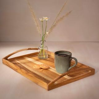 in teak wooden tray- large