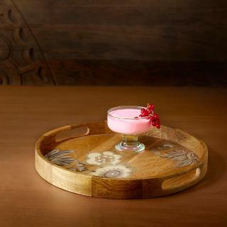 fleur d'or wooden tray round