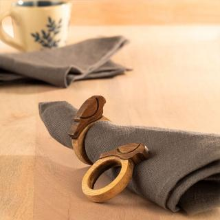 MANGO NAPKIN RING BIRD SET OF 2 NATURAL