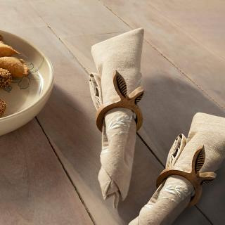 MANGO NAPKIN RING LEAF SET OF 2 NATURAL