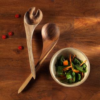 Teak Wood Salad Serving Spoon (Set Of 2)