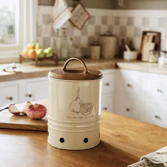 egg shell metal onion storage bin with wooden lid